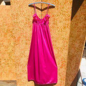 Vintage 1970s Maxi Slip Magenta Nightgown Petite